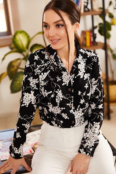Kadın Siyah Küçük Çiçek Desenli Uzun Kol Gömlek ARM-21K001130