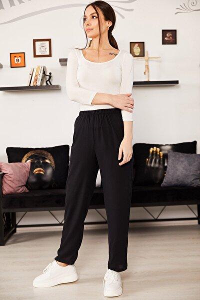Kadın Siyah Beli Lastikli Pijama Altı ARM-21K001144