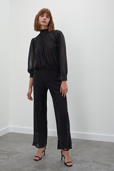 Simli Astarlı Beli Lastikli Triko Pantolon - Siyah