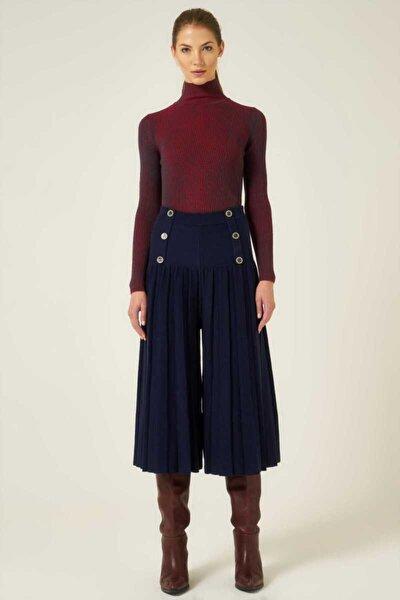 Pileli Düğmeli Beli Lastikli Pantolon - Lacivert