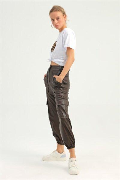 Kadın Kahverengi Deri Jogger Pantolon