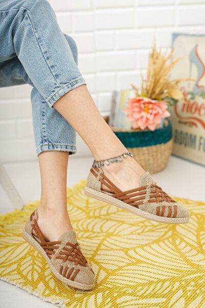 Kadın Taba Hasır Örgü Günlük Ayakkabı