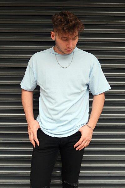 Unisex Bebe Mavisi Basic Bisiklet Yaka Oversize T-Shirt