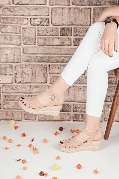 Kadın Topuklu Sandalet Terlik Bej Süet Bilekten Bağlamalı