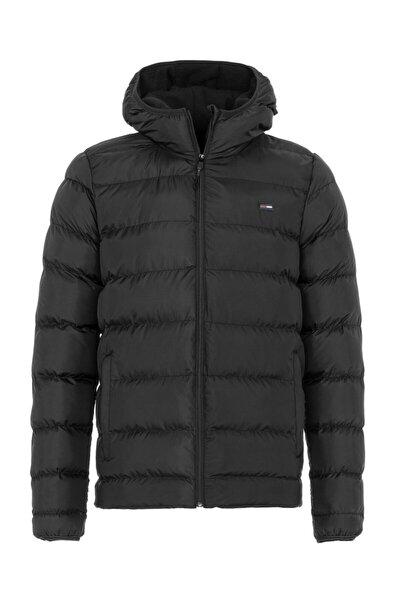 Erkek Kapüşonlu Içi Polarlı Şişme Siyah Renk Mont