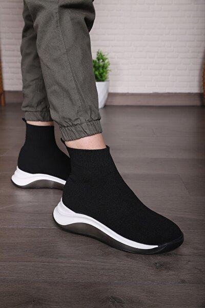 Kadın Siyah Triko Günlük Spor Ayakkabı Streç Çorap Sneaker