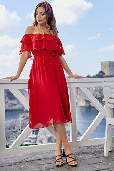 Kadın Kırmızı Madonna Fırfır Yaka Şifon Elbise