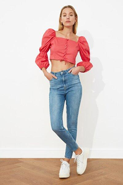 Mavi Yıpratmalı Yüksek Bel Skinny Jeans TWOSS21JE0349