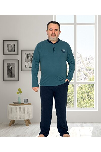 Erkek Petrol Mavi Büyük Beden Yeni Sezon Pijama Takımı