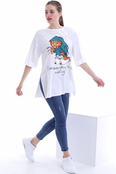 Kadın Garfield Baskılı Salaş T-shirt