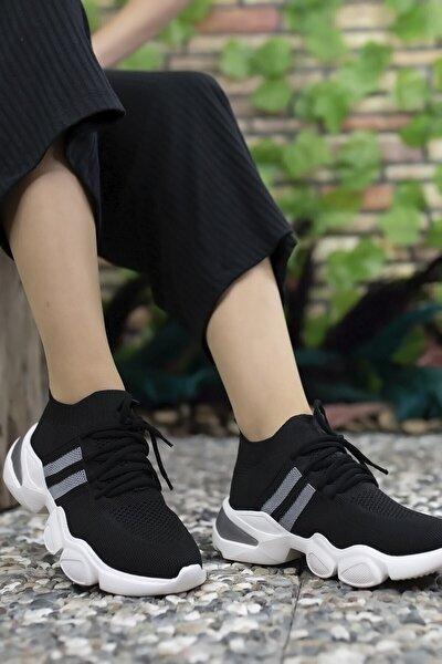 Siyah Gri Kadın Sneaker 0012303