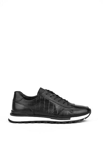 , Erkek Hakiki Deri Sneaker 11171 241 2 Sıyah