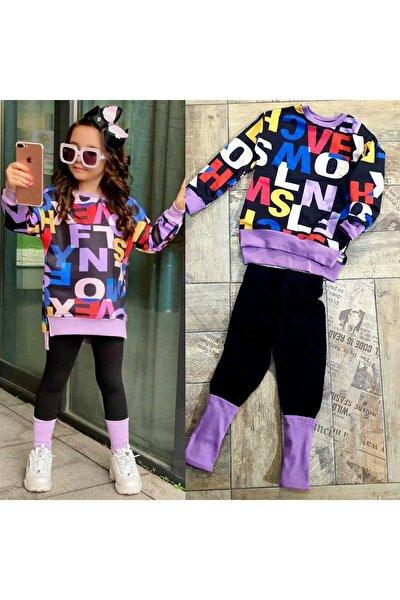 Kız Çocuk Mor Renk-tozluk Kombinli Yeni Tarz Takım