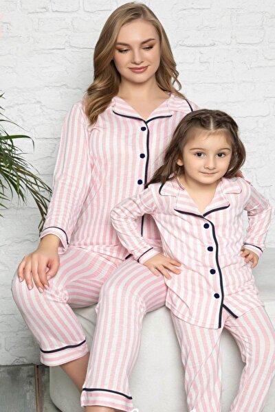 Kadın Pembe Çizgili Anne ve Kız Pijama Takımı