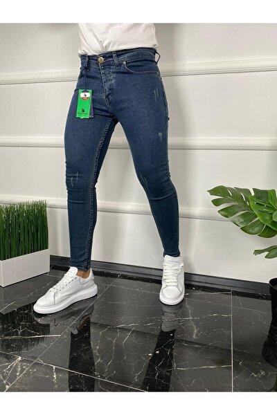 Erkek Mavi Jean İtalyan Kesim Tırnaklı Skinny Jean