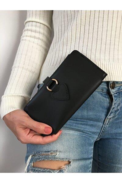Kadın Siyah Cüzdan Model Aksesuar Kartlık Telefon Bölmeli
