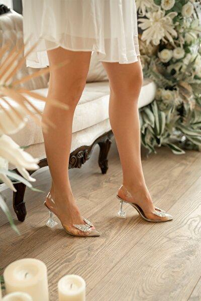 Kadın Şeffaf Kelebek Detaylı  Topuklu Ayakkabı