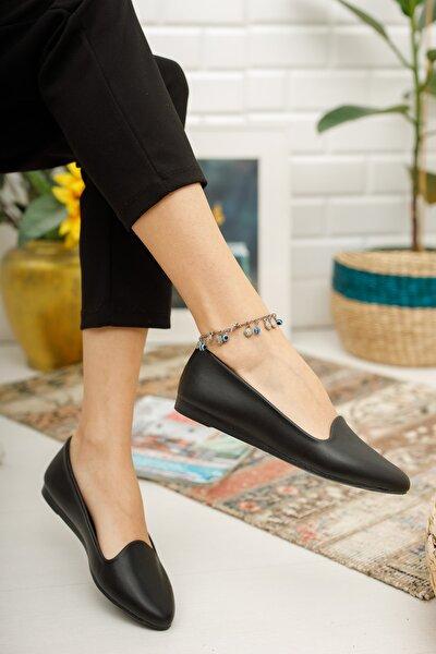Kadın Siyah Cilt Babet Ayakkabı Şık Zarif Babet Günlük Babet Bayan Ayakkabı