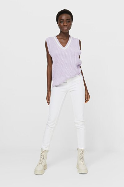 Kadın Beyaz Slim Fit Mom Jean 01465854