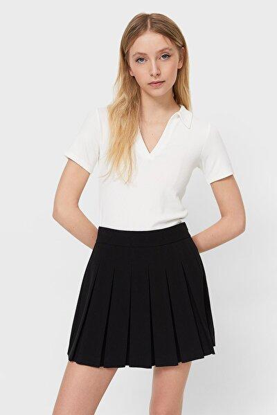 Kadın Ekru Çizgili Polo T-Shirt 02666770