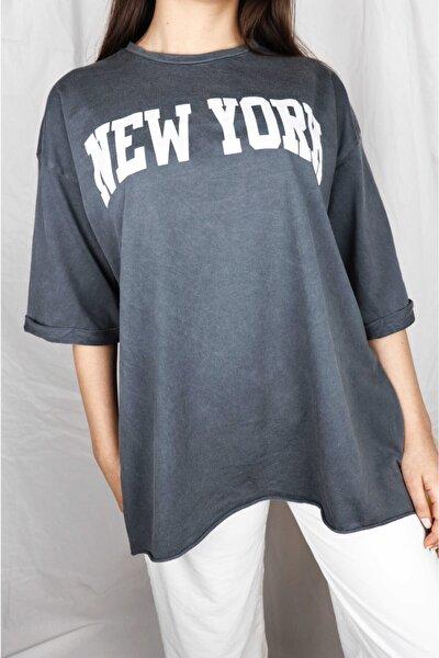 Kadın Gri -Taş Yıkama Oversize T-shirt