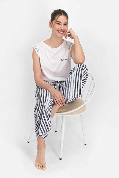 Kadın  Krem  Striped Pijama Takımı