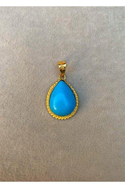 Kadın Sarı Mavi 14 Ayar Altın Firuze Kolye Ucu