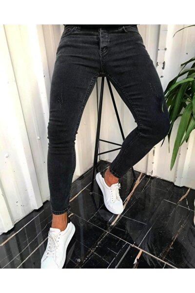 Erkek Füme İtalyan Kesim Likralı Denim Kot Pantolon