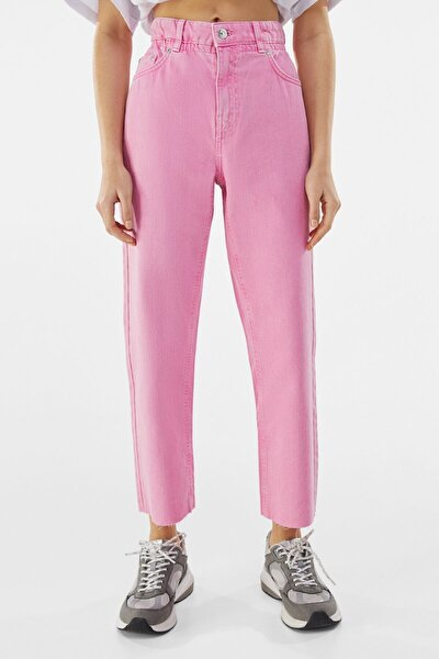 Kadın Pembe Fitilli Crop Straight Fit Pantolon
