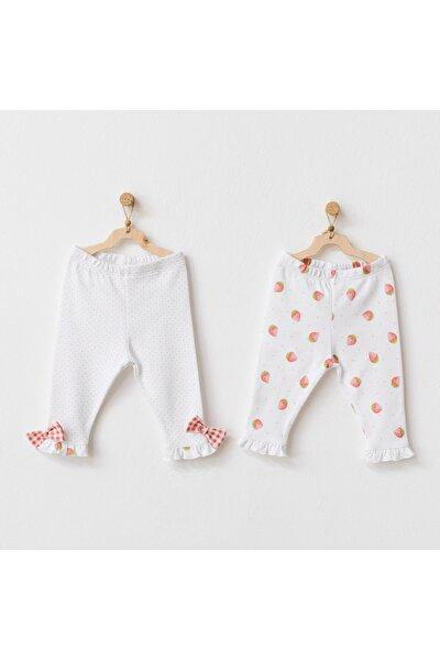 Kız Bebek Beyaz 2li Pantolon Takımı