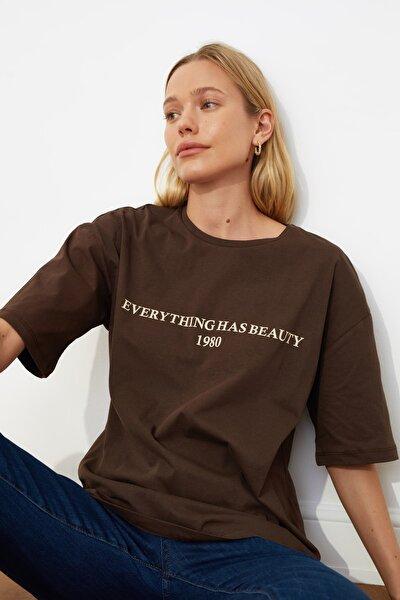 Kahverengi Baskılı Loose Kalıp Örme T-shirt TWOSS19GH0034