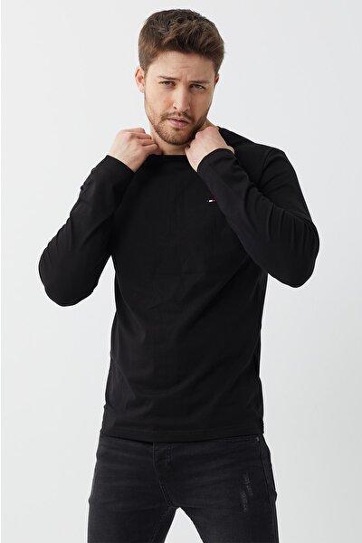 Erkek Siyah Bisiklet Yaka Düz Basic Ince Sweatshirt