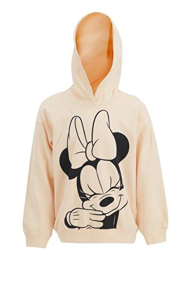 Kız Çocuk Minnie Mouse Lisanslı Kapüşonlu Sweatshirt
