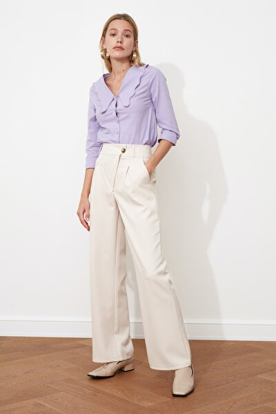 Taş Asimetrik Kapamalı Pileli Pantolon TWOSS21PL0100