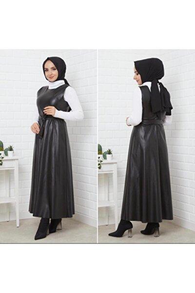 Kadın Siyah Tesettür Deri Elbise