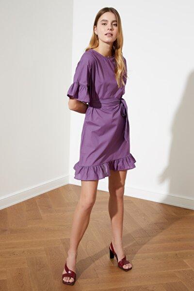 Mor Kuşaklı Volanlı Elbise TWOSS20EL0501