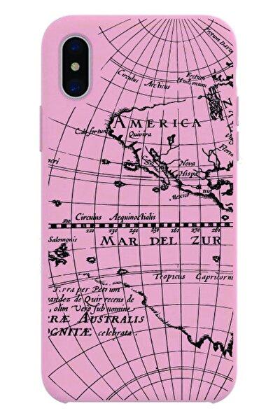 Iphone Xr Uyumlu Pembe Renkli Harita Desenli Baskılı Silikon Kılıf