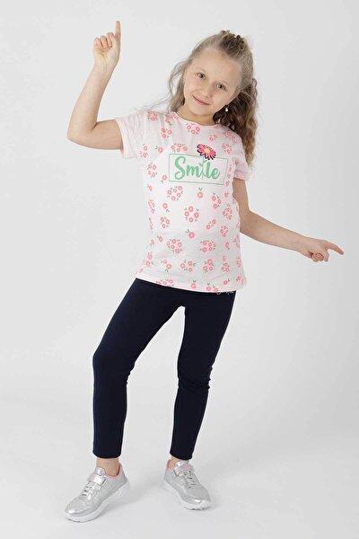 Kız Çoçuk Smile Baskılı Taytlı Takım Ak621721108