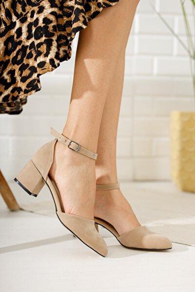 Kadın Ten Süet Tek Bant Kalın Topuklu Klasik Ayakkabı
