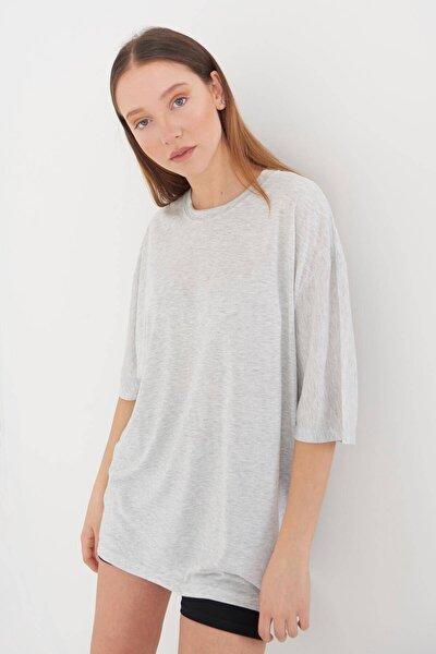 Kadın Kar Melanj Oversize T-Shirt P9346 - S6 Adx-0000020997