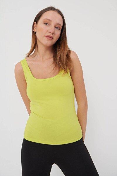 Kadın Fıstık Yeşil U Yaka Atlet A0883 - F5 ADX-0000021994