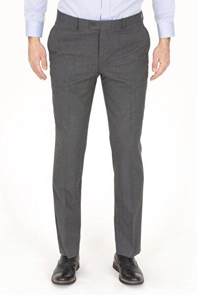 Erkek Gri Likralı Kumaş Pantolon