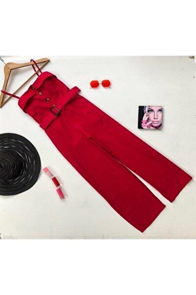 Kadın Kırmızı Kemerli Bilek Boy Sırt Lastikli Tulum