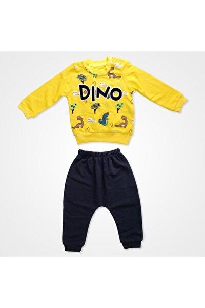 Erkek Bebek Dino Baskılı Eşofman Takım -sarı-