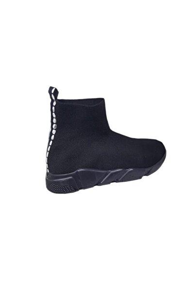 Kadın Kömür Filito Çoraplı Yüksek Taban Sneakers Ayakkabı