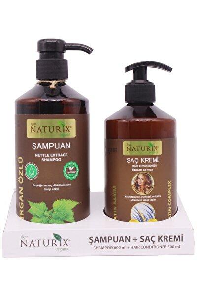 Tuzsuz Şampuan 2'li Kepek Önleyici Isırgan Otu Şampuanı 600 Ml + 500 Ml Keratin Bakım Saç Kremi