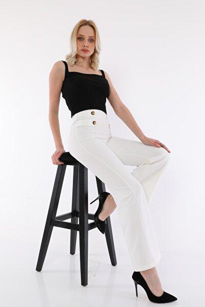 Kadın Beyaz Düğme Detaylı Ispanyol Paça Yüksek Bel Pantolon