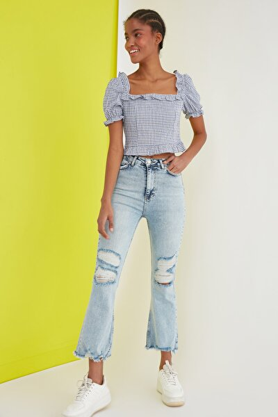 Mavi Yırtık Detaylı Yüksek Bel Crop Flare Jeans TWOSS21JE0506