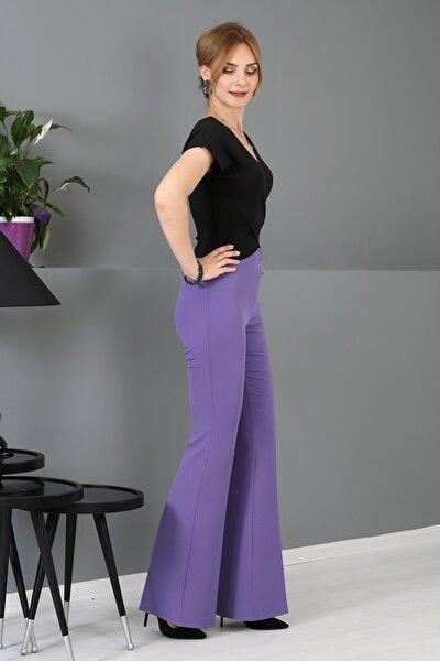 Beli Lastikli Ispanyol Paça Pantolon -lila