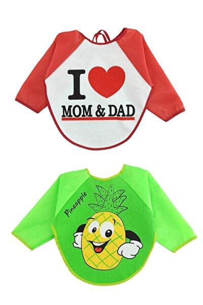 Unisex Bebek Su Geçirmez Mom Dad Ananas Desen Mama Önlüğü 2 Adet